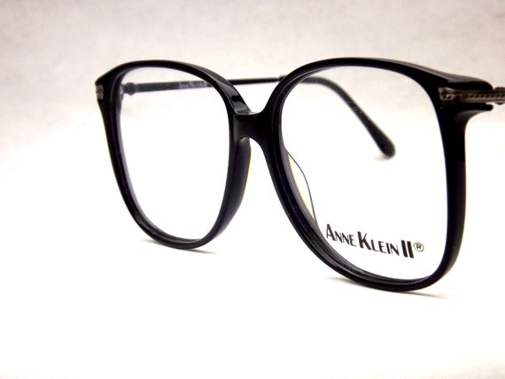 big square eyeglasses designer anne klein 80s vintage womens black blue and silver eyewear