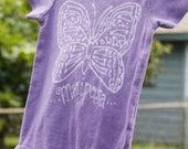 Baby onesie, hand dyed purple with butterfly, mariposa