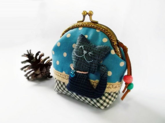 Coin purse, Cat purse, Metal frame purse, 10 cm frame purse, kitty coin purse