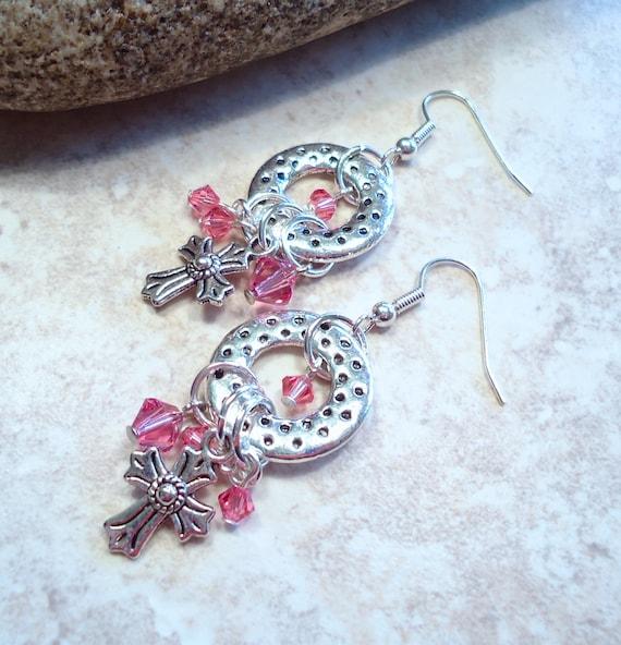 Textured Pink Crystal Dangle Earrings