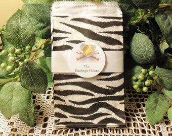Zebra Gift Bags, 50 Small Zebra Print 4x6 Paper Gift Bags, Envelopes, Merchandise Bags, Favor Bags