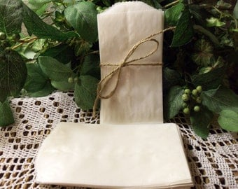 """Glassine Bags, 50 Glassine Bags, 3"""" x 5.5"""", flat bags for photos, gifts, treats, etc."""
