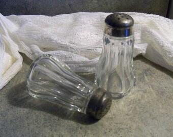 Vintage Ribbed Glass Salt and Pepper Shaker Set