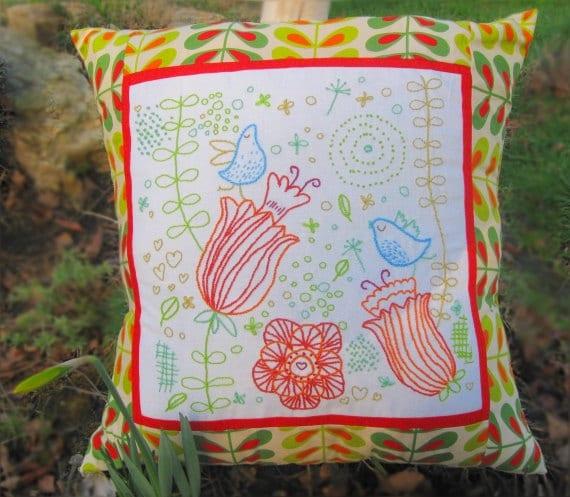 Bluebird Embroidered Cushion PDF Pattern - A Modern Stitchery