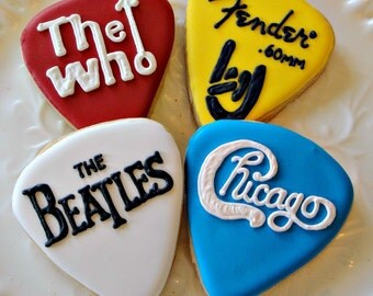 Guitar Pick Cookies Decorated Cookie Favors One Dozen