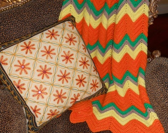 Vintage Hand Crochet Afghan Perfect Fall Hip Chevron Pattern Pic Nic