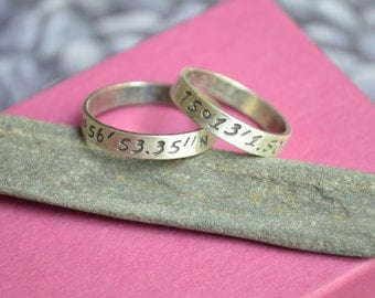 Latitude and Longitude Ring Set in Sterling Silver, Wedding ring Set, Wedding set with Coordinates, Special Location Ring set