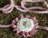 Ivory rosette with vintage pink lace tie back headband