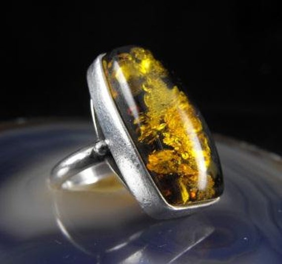 RESERVED LISTING: Stunning Baltic Amber Ring Sterling Silver Lily Pad Amber