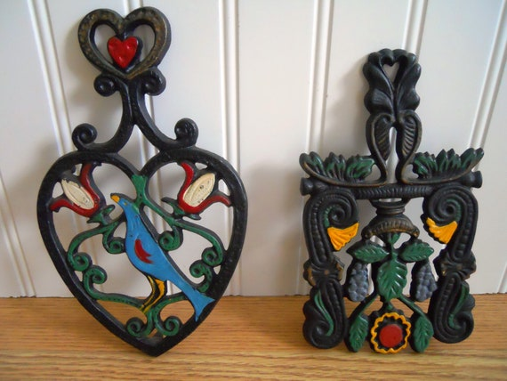 Fancy Folk Painted Trivet Set.
