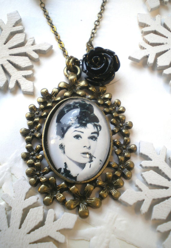 necklace audrey hepburn with black rose by ellementjewelry On audrey rose jewelry reviews