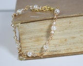 White pearl and clear crystal gold wire wrapped bracelet Handmade by Beadtriss Lane Made to Order bridal formal