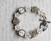 "STEAMPUNK Bracelet Rare White VINTAGE TYPEWRITER Key ""White Lace"" Rhinestone Buttons ooak"