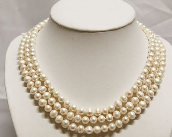 Pearl Necklace - 16-18 inches 3 Row White Pearl Necklace - Free shipping