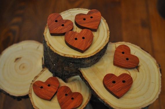 Wooden Buttons-Handmade  Heart shaped