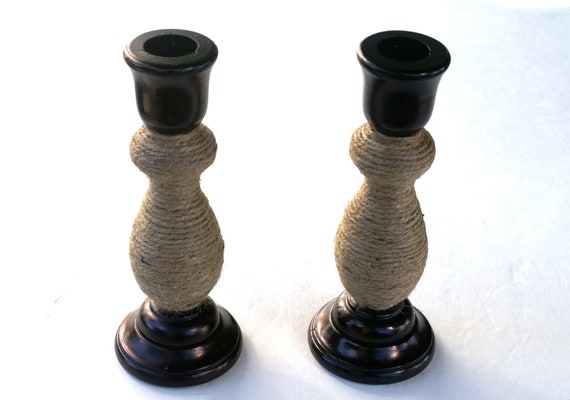 Black Wooden Candlesticks with Jute Wrapped Twine Fall Decor