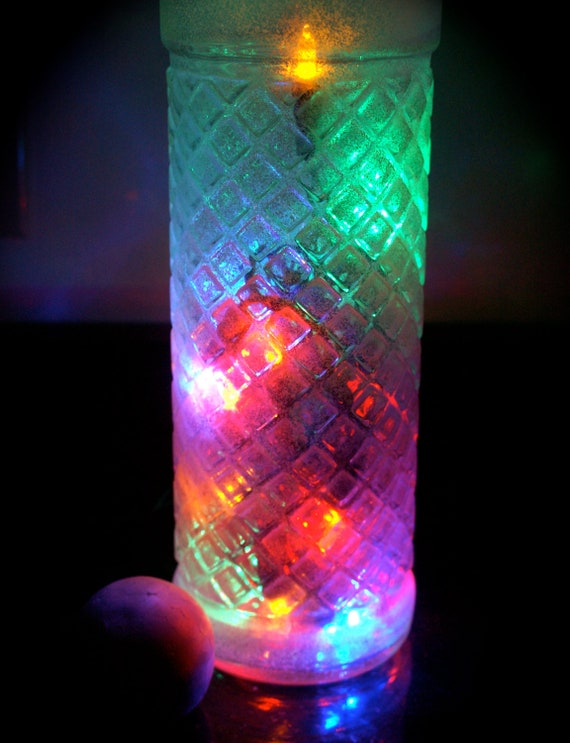Wine bottle lights multi colored in frosted glass for How to color wine bottles