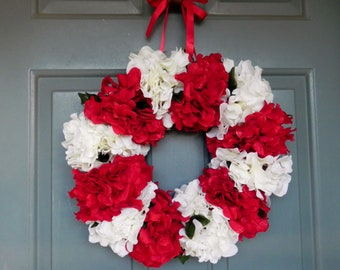 Christmas Wreath - Peppermint Red White Hydrangea - bow changable