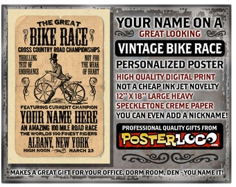 """YOUR NAME on a vintage look Bike Race Personalized -custom gift - 12""""x18"""" novelty room decor"""