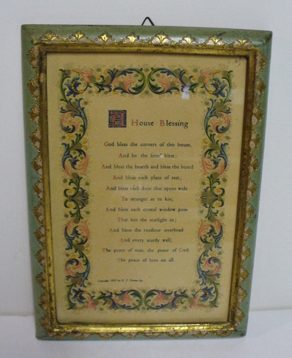 Vintage Framed House Blessing Poem by E.P. Dutton 1935  Made in Italy Christian Home Decor 5 x 7