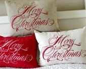 """Merry Christmas Pillow Cover, 12x16"""",  12x20"""",  16x16, 18x18, choice of natural linen, cream twill, and red suede"""