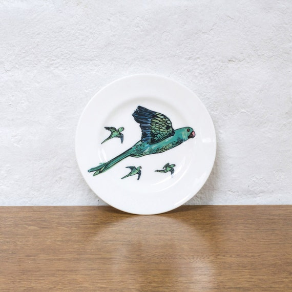 Parakeets Small Bone China Plate