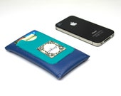"iPhone 5 Case - Color Block - Blue and Turquoise Vegan Leather - Birdbags ""Birds Nest"""