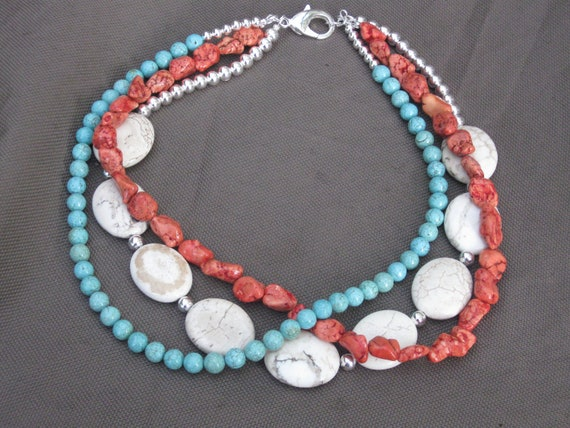 Necklace-Beaded Jewelry-Beaded Necklace-Turquoise Necklace-Orange Necklace-Bib Neclace-Multistand Necklace-Tri colored Necklace-OOAK