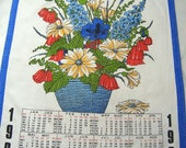 Vintage 1984 Calendar Dishcloth, Retro Cotton Dishcloth for the year 1984, German and English