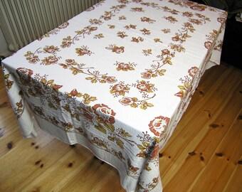 Large Retro Tablecloth, Vintage 100% Cotton Floral Tablecloth, Vintage 1960s 70s Fabric