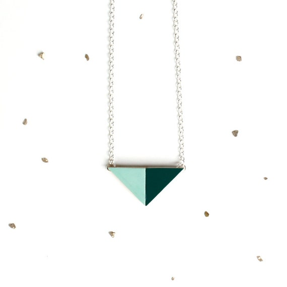 Geometric Wooden Triangle Necklace / small mint & hunter green wood puzzle pendant / short silver or gold chain / unique gift under 35