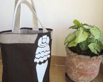 Artemis  Ephesus Tote Bag  /  BAG ( patchwork/ felt appliqued on canvas    ) / Brown and white / Mythological Goddess