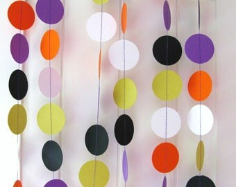 Halloween Garland, Circle - 10ft Long Approx - Halloween Decor, Purple, Orange, White, Green, Black, Photo Prop