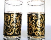 Vintage Glasses Tumblers 22K LTD Gold Black Culver Signature Bar Ware Tall Gold Scroll Rim Retro Scroll Patterned  Mad Men Bar Serving Ware