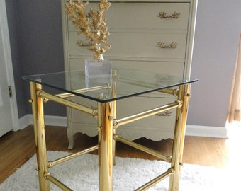 Vintage End Table Brass Hollywood Regency Square End Table Modern Chinoiserie Chic Furnishings