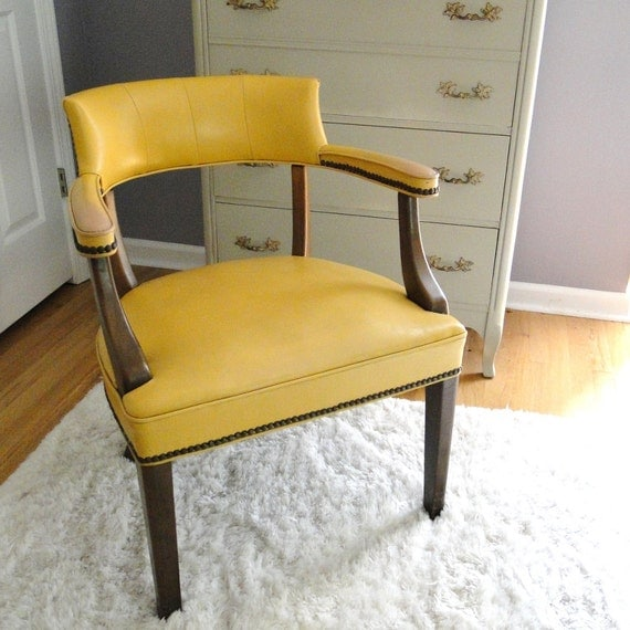 Vintage Executive Desk Arm Chair Mid Century Office Seating Study Retro Mustard Brass Studded 1970s Eclectic