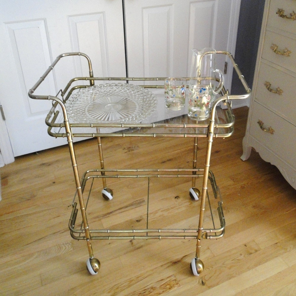 vintage cart rolling brass bamboo hollywood regency golden. Black Bedroom Furniture Sets. Home Design Ideas