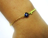 Evil Eye Bracelet, Yellow Neon String, Half Chain, Lucky Eye Gold Bracelet