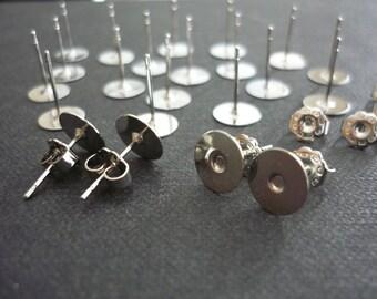 24 pcs Earstuds - dark silver tone earring posts - 8mm tray with metal earnuts
