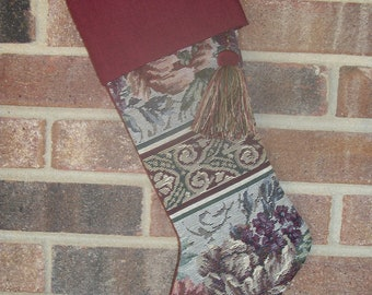 Handmade Burgundy, Gold and Green Tapestry Christmas Stocking