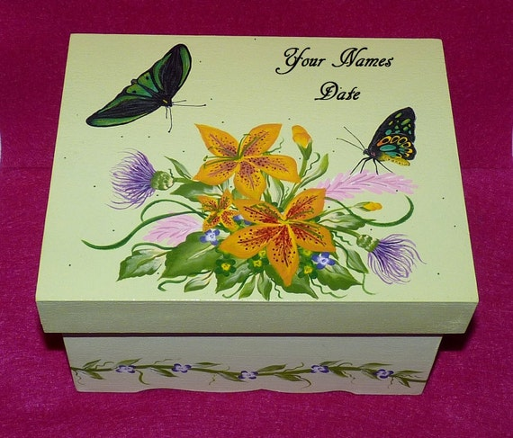 Hand Painted Wedding Keepsake Box Decorative Wood Advice Guest Book Box Custom Card Box Decorative Butterfly Tiger Lily Bridal Shower Gift
