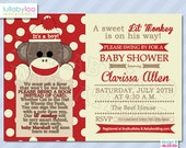 Bring a Book Baby Shower Invitations Sock Monkey Theme (459)