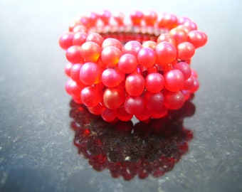 Red Berry Seed Bead Ring