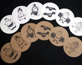 Set of 6 Monster Halloween Embellishments/Gift Tags - Made to Order (Black and White)