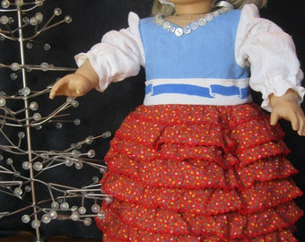 "Little Christmas on the Prairie, ruffled ankle length gown for 18"" dolls like American Girl, 4 pc incl cape,headscarf, Swedish tote,""Nellie"""