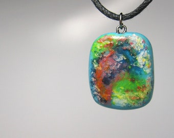 Polymer Clay Necklace, Jewelry, Pendant, Glazed, Handmade, Multi Color, Water Color Abstract Necklace.