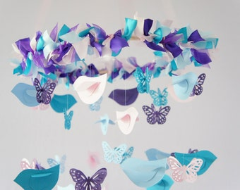 Nursery Mobile Decor- Blue, Pink, Purple Birds & Butterflies- Nursery Decor, Baby Shower Decor