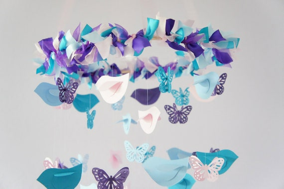 Nursery mobile decor blue pink purple birds butterflies for Pink and blue bathroom accessories