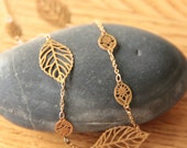 Marrakech - Gold & long necklace with little leaves