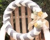 CUSTOM ORDER for Cindy B - Gray & Ivory Chevron Felt Wreath
